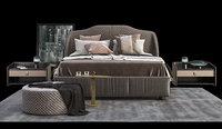 bedroom furnishing set bed 3D model