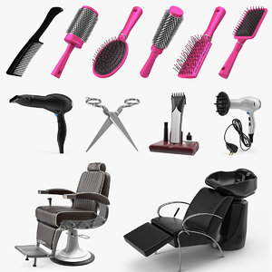 3D model hair beauty salon equipment