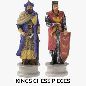 kings chess pieces 3D