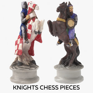 3D knights chess pieces