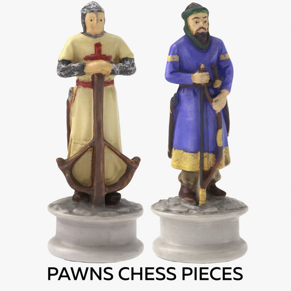 pawns chess pieces 3D model
