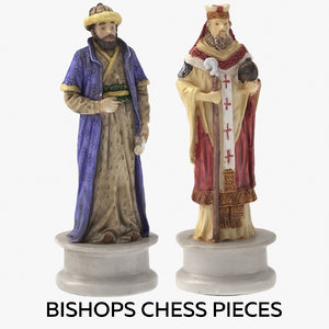 3D bishops chess pieces model