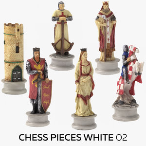 chess pieces white 02 3D model