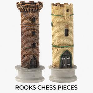 rooks chess pieces 3D model