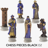 3D chess pieces black 02