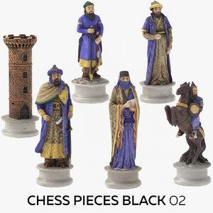 3D chess pieces black 02