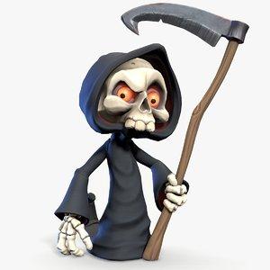 ready cute cartoon grim reaper 3D model