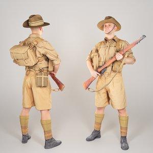 australian infantryman character 1940s 3D model