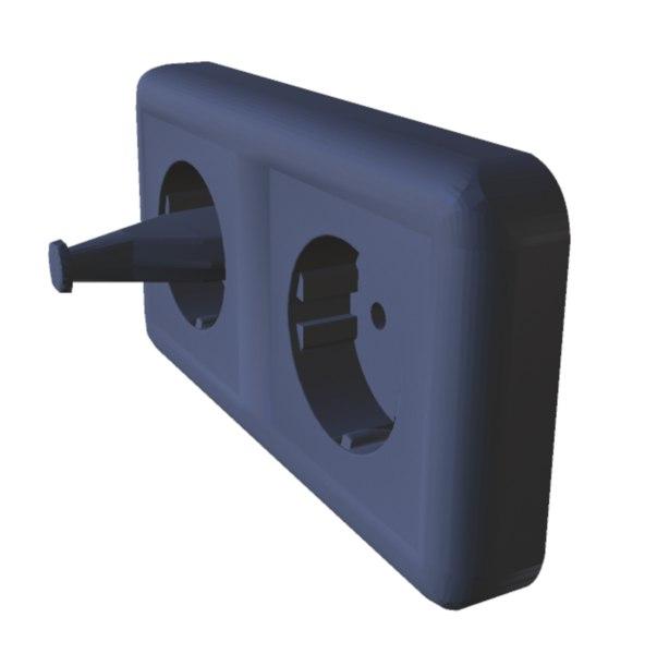type double socket duplex outlet 3D model