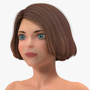 cartoon nude women t-pose 3D model