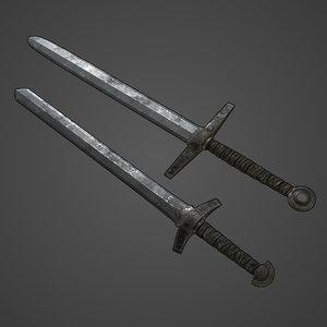 3D set basic medieval swords
