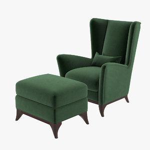 3D bergamo wing chair set