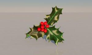 3D holly christmas plant model
