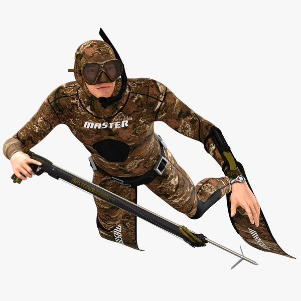 3D animations scuba spearfisher