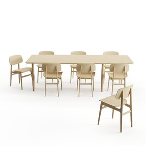 chair table norr11 dining 3D