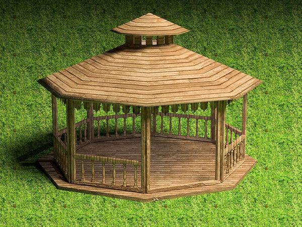 pergola architecture gazebo 3D