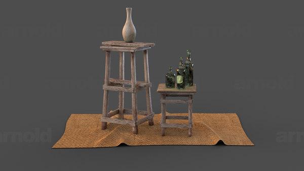 old tables bottles 3D model