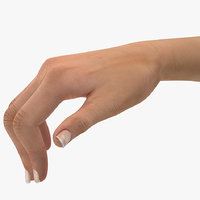 3D model female hand short nails
