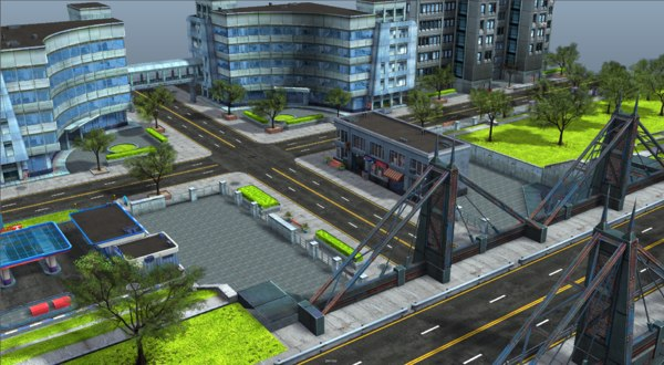 3D pack city buildings props model