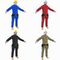 worker man helmet 3D model