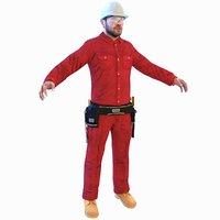 3D model worker man helmet