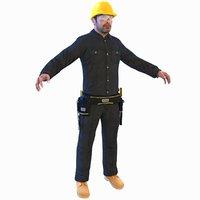 3D worker man helmet