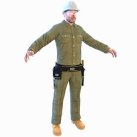 worker man helmet model