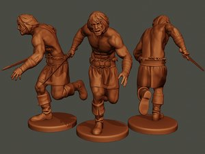 3D male barbarian 2hsword attacking1 model