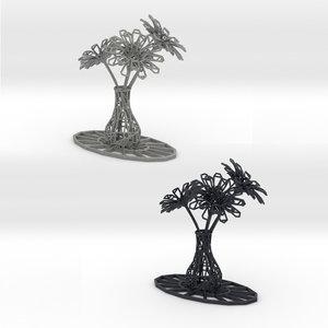 vase flowers print 3D model