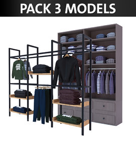 3D model pack clothing hanger interior