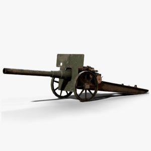 15cm feldkanone cannon ww1 3D