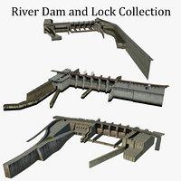 3D river dam locks