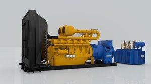electricity diesel engine generator 3D model