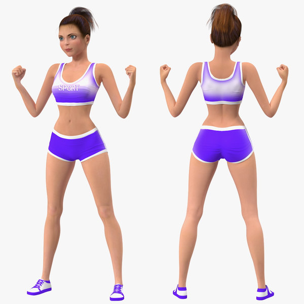 3D model cartoon young girl sportive