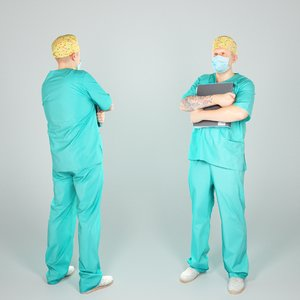 handsome man uniform surgeon 3D