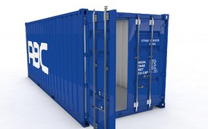 20ft container rigged 3D model