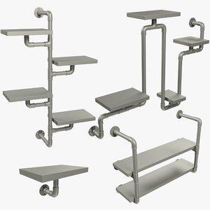 3D model loft shelfs v1 mesh