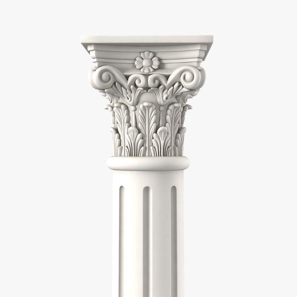 3D corinthian greek ancient column