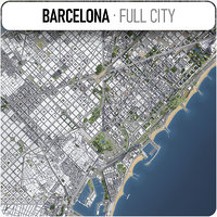 city barcelona surrounding - 3D model