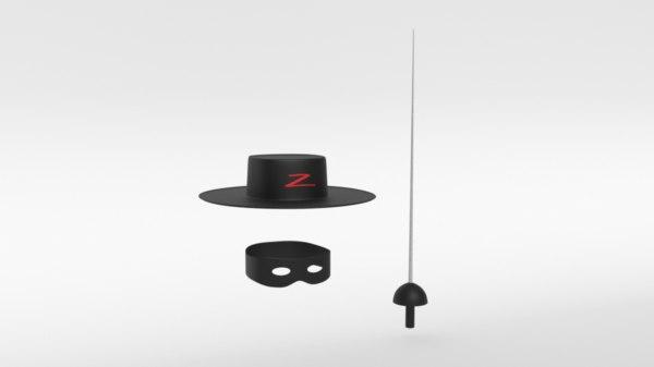 zorro hat mask sword 3D model