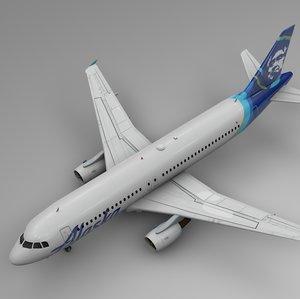 3D alaska airlines airbus a320