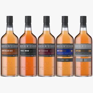 3D model auchentoshan whisky bottles