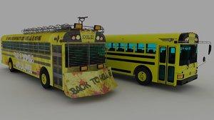 3D classic school bus