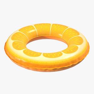 3D orange swimming pool float model