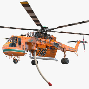3D sikorsky s-64 skycrane firefighting