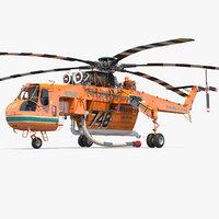 sikorsky s-64 skycrane firefighting 3D model