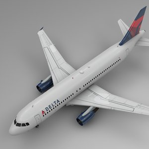 3D delta airlines airbus a320 model