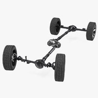 3D model 4x4 chassis rigged