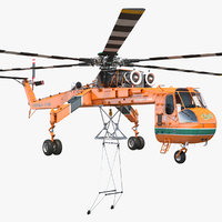 heavy-lift sikorsky s-64 skycrane helicopter model