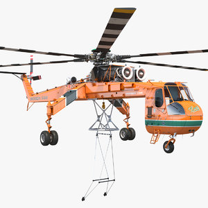 heavy-lift sikorsky s-64 skycrane helicopter model